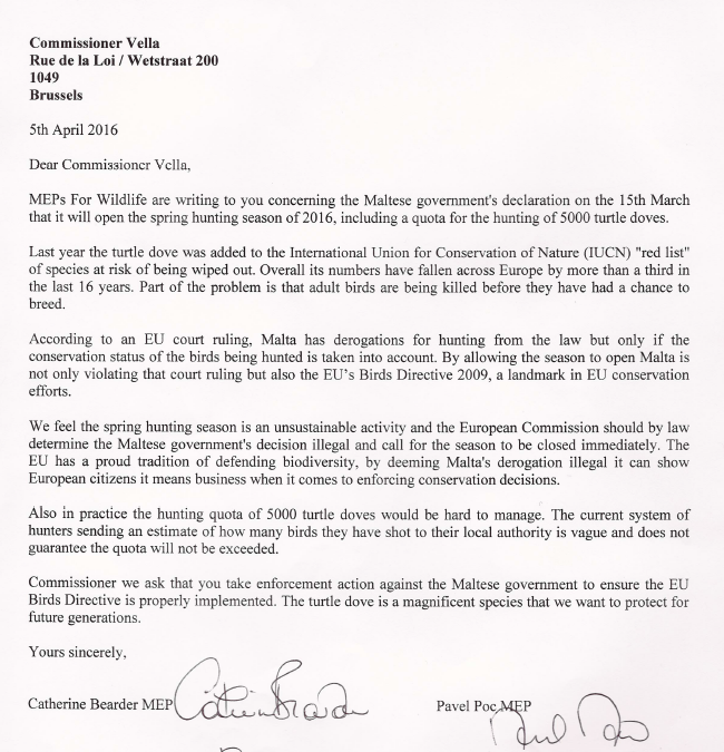 Turtle dove hunting letter to Commissioner Vella