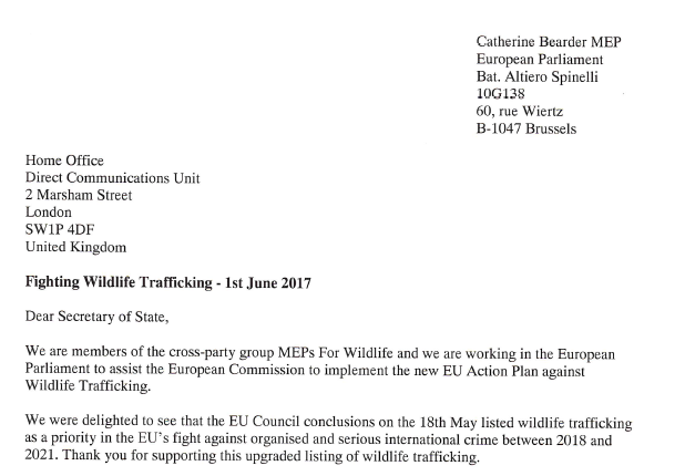 MEPs For Wildlife calls on Home Office to support EU Council's prioritisation of wildlife trafficking